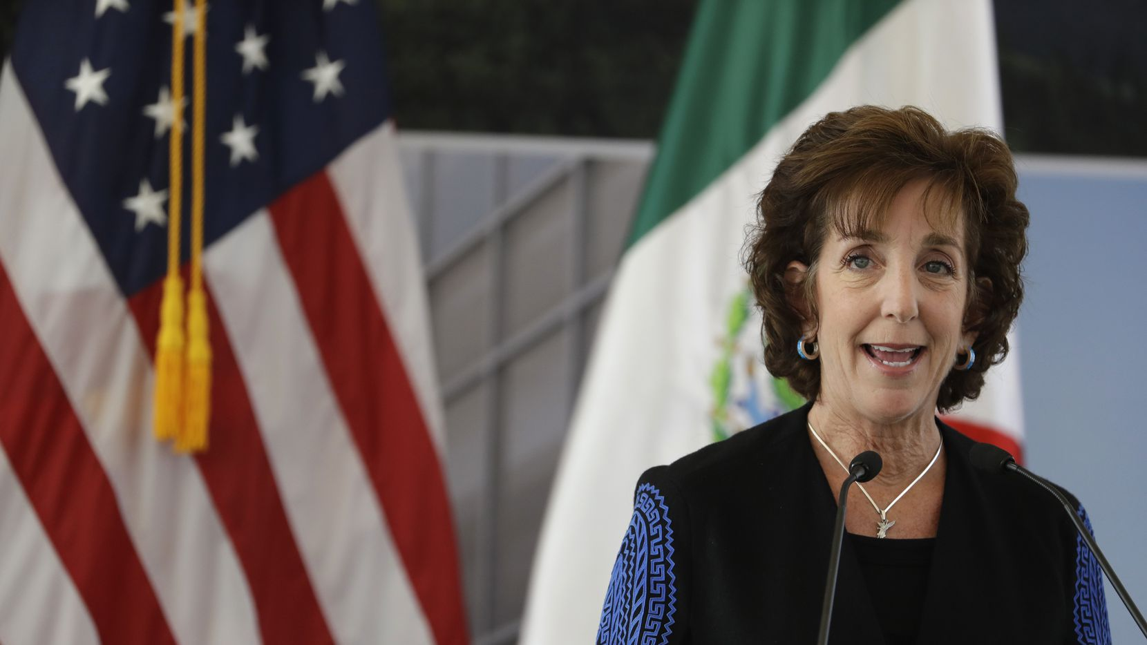 U.S. Ambassador to Mexico Roberta Jacobson speaks during the groundbreaking ceremony for the new U.S. embassy.