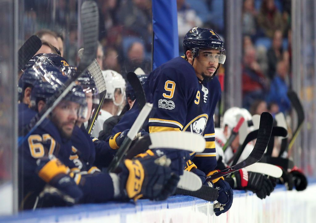 BUFFALO, NY - DECEMBER 12: Evander Kane #9 of the Buffalo Sabres during the game against the Ottawa Senators at the KeyBank Center on December 12, 2017 in Buffalo, New York. (Photo by Kevin Hoffman/Getty Images)
