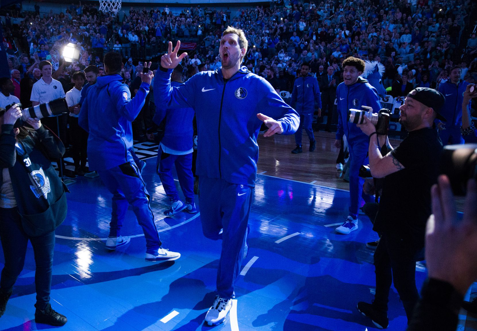 Dallas Mavericks forward Dirk Nowitzki (41) enters the court before an NBA game between the Dallas Mavericks and the New Orleans Pelicans on Monday, March 18, 2019 at American Airlines Center in Dallas.