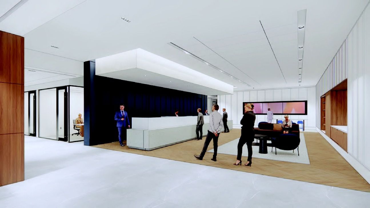 A rendering shows tellers at work in the updated North Dallas Bank tower.