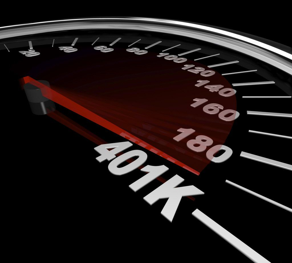 The needle on a speedometer points to the number 401K