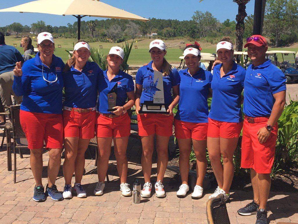 From left, SMU women's golf head coach Jeanne Sutherland, Kenzie Wright, Brigitte Dunne, Lindsey McCurdy, Ana Paula Ramirez, Faith Summers and  assistant coach David Von Ins celebrate the Mustangs' second-place finish in the American Athletic Conference golf tournament in Palm Coast, Fla.