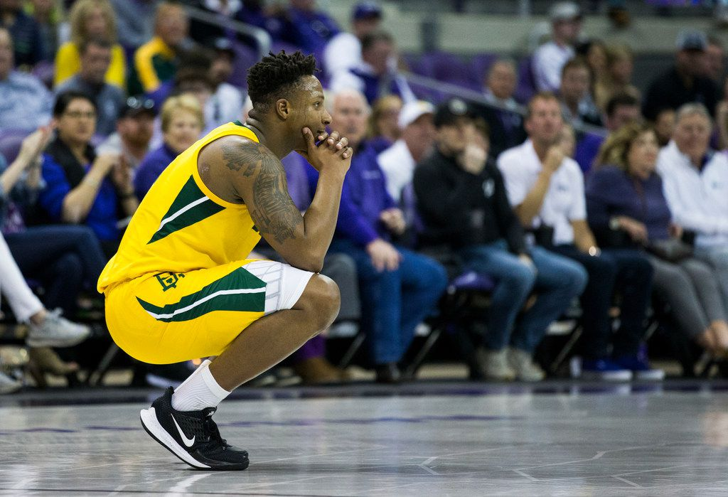 Baylor Bears guard Mark Vital (11) reacts to a foul call during the second half of an NCAA mens basketball game between Baylor and TCU on Saturday, February 29, 2020 at Ed & Rae Schollmaier Arena on the TCU campus in Fort Worth.