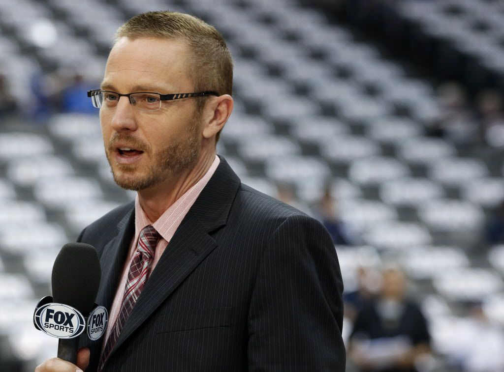 Mark Followill broadcasts before the game between the Dallas Mavericks and the Portland Trail Blazers at the American Airlines Center in Dallas on April 15, 2015. (Rose Baca/The Dallas Morning News)