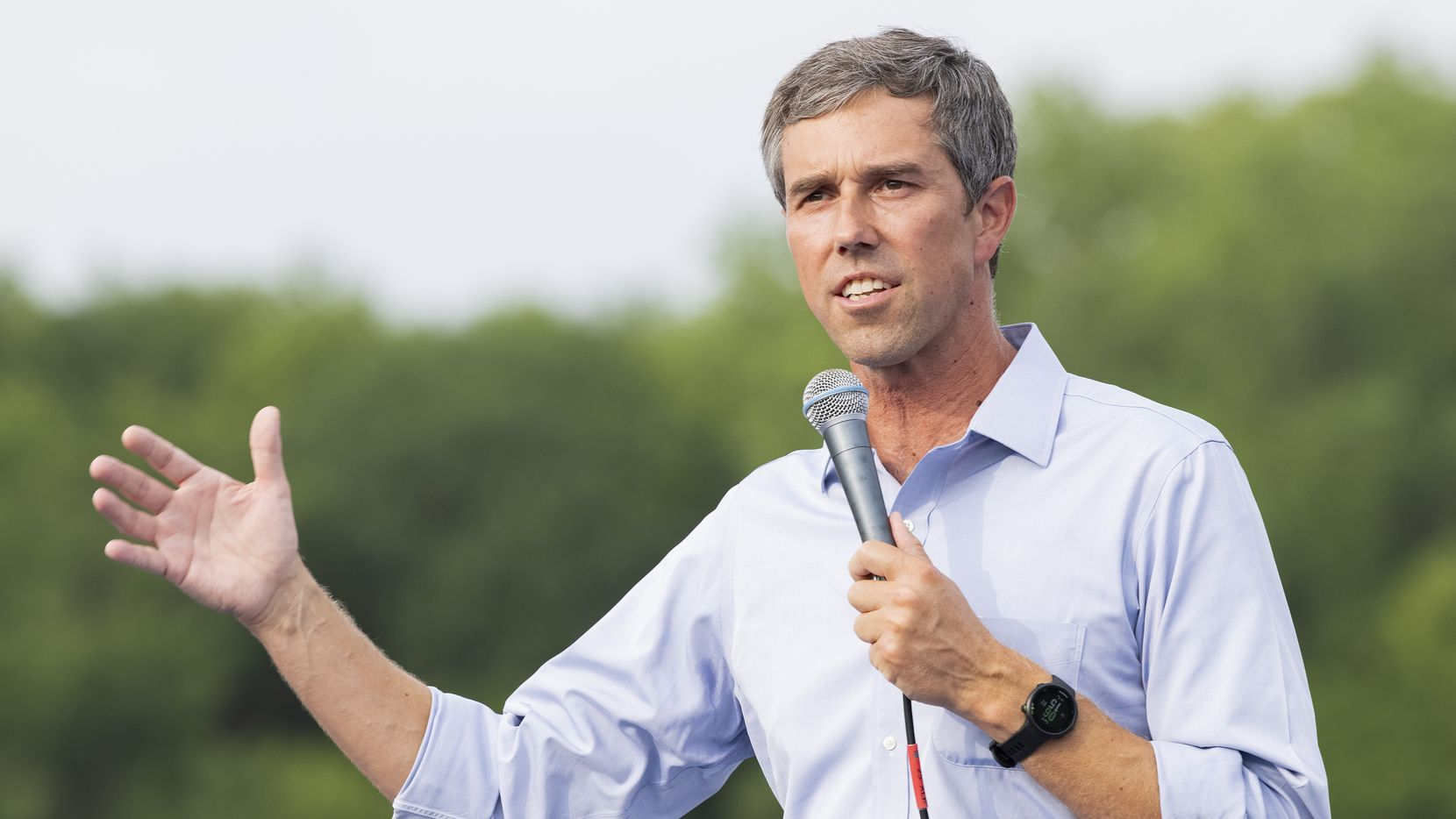 Former congressman Beto O'Rourke speaks during his For the People, The Texas Drive for Democracy event on June 8, 2021, at Paul Quinn College in Dallas.