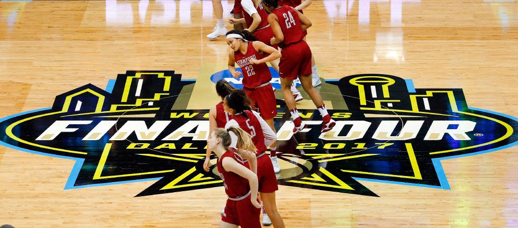 The Stanford Cardinals basketball team stretches before practicing for their NCAA Women's Final Four semifinal game at the American Airlines Center in Dallas, Thursday, March 30, 2017. Stanford will face South Carolina, Friday. (Tom Fox/The Dallas Morning News)