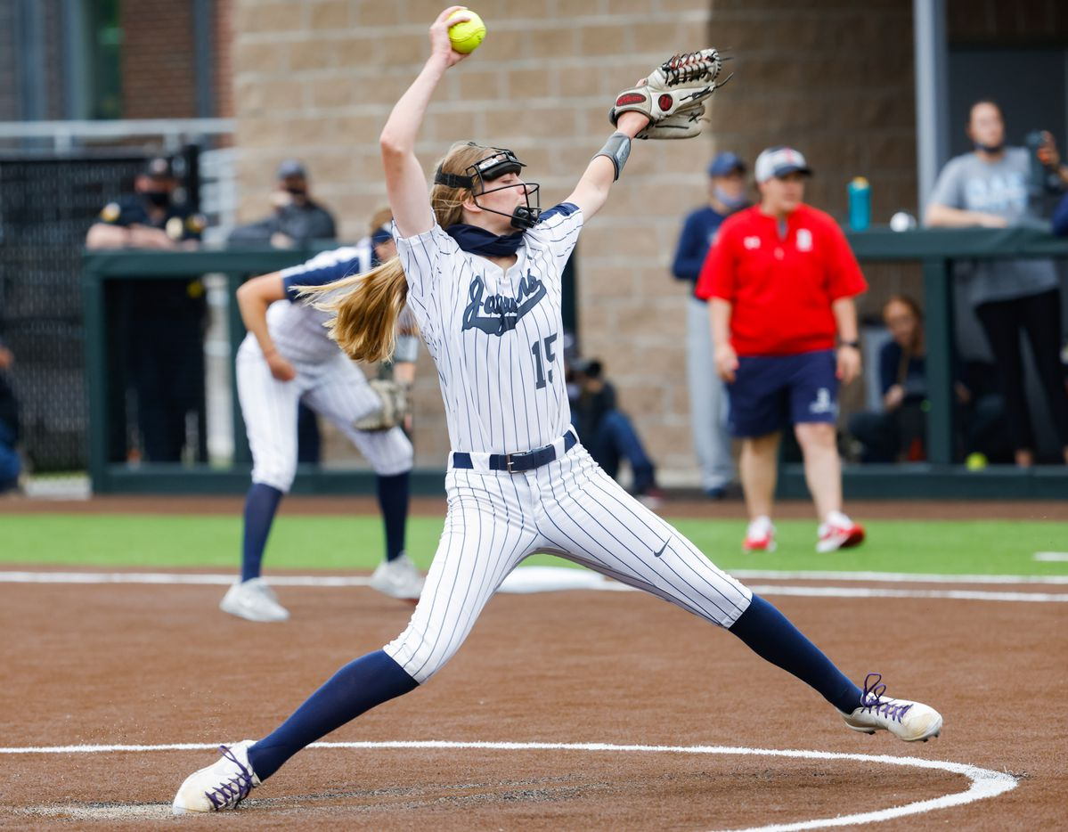Flower Mound's pitcher Landrie Harris (15) pitches to McKinney Boyd during the second inning of a Class 6A bi-district playoff game on Friday, April 30, 2021, in Denton. (Juan Figueroa/The Dallas Morning News)