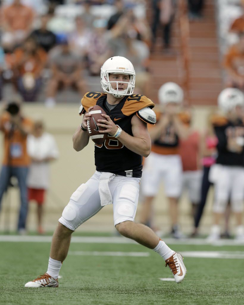 Texas quarterback Shane Buechele (16) during a spring NCAA college football game, Saturday, April 16, 2016, in Austin, Texas. (AP Photo/Eric Gay) ORG XMIT: OTK