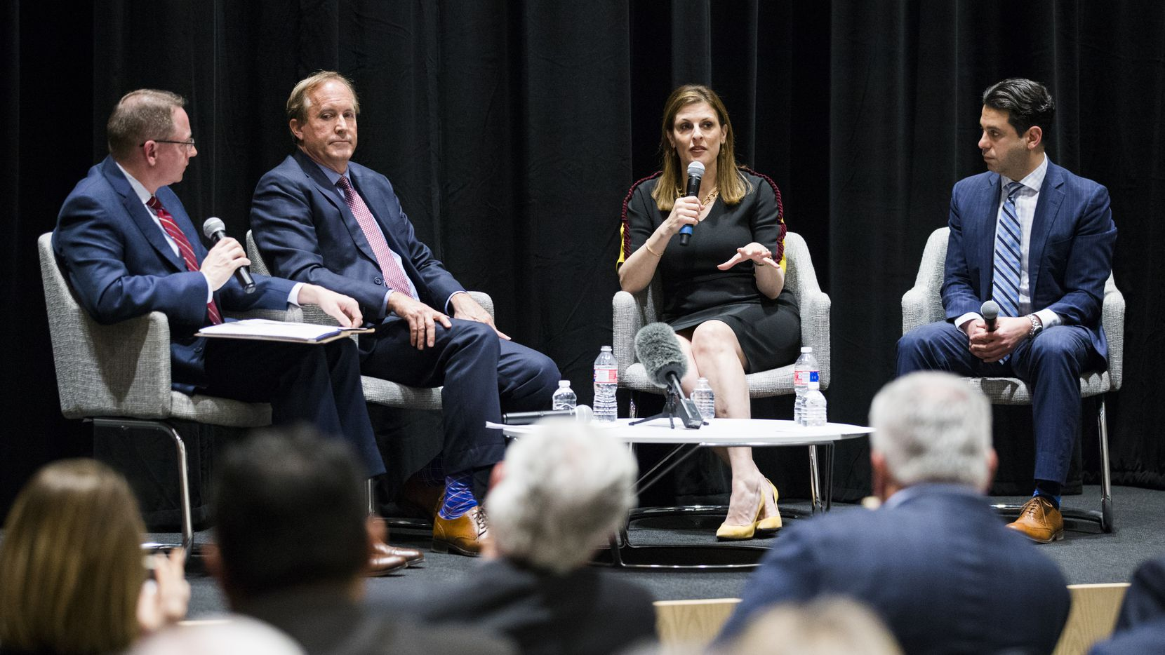 From left, The Dallas Morning News Vice President and Editor of Editorials Brandan Miniter, Attorney General Ken Paxton, U.S. Attorney Erin Nealy Cox, and  Human Trafficking Institute CEO Victor Boutros discuss changes in the way government is addressing sex trafficking on Feb. 26, 2020 at The Dallas Morning News Auditorium in Dallas. (Ashley Landis/The Dallas Morning News)