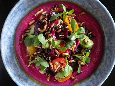 Beets and Avocado, an appetizer at Sister, is made with tahini, lemon vinaigrette and puffed wild rice. The 'Italian-ish' restaurant opened quietly in late September 2021.