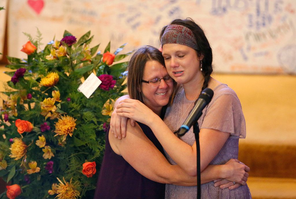 Sherri Pomeroy (left) comforts Annabelle Pomeroy's sister as she tells stories about funeral service for at First Baptist Church of La Vernia in La Vernia, Texas on Nov. 13, 2017. Annabelle was killed in the First Baptist Church in Sutherland Springs, Texas the site of a shooting that killed 26 parishioners and left 30 injured. (Nathan Hunsinger/The Dallas Morning News)