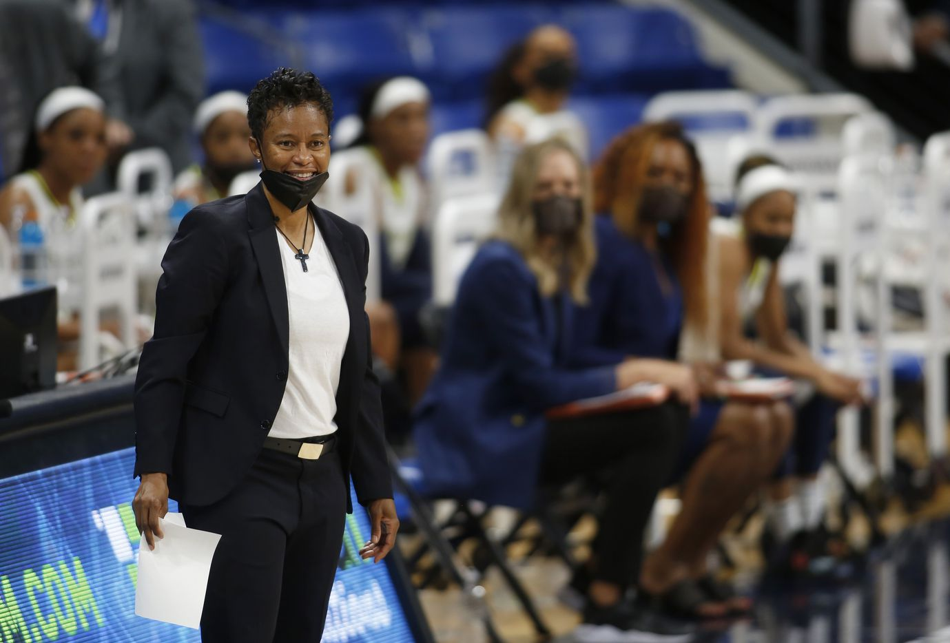 Dallas Wings head coach Vickie Johnson reacts to a play during second half action against Seattle. The Wings hosted the Storm for their WNBA 2021season home opener at UTA's College Park Center in Arlington on May 22, 2021. (Steve Hamm/ Special Contributor)