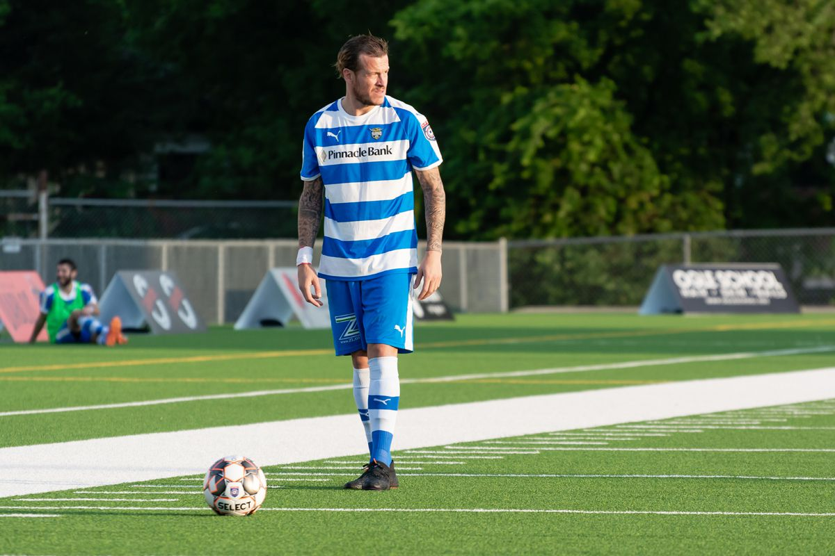 Jamie Lovegrove stands over a free kick as he awaits the signal to restart play against Denton Diablos. (5-18-19)