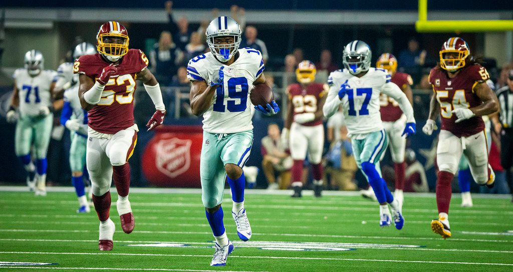 Dallas Cowboys wide receiver Amari Cooper (19) breaks away from Washington Redskins inside linebacker Zach Brown (53) on a 90-yard touchdown catch-and-run during the third quarter of an NFL football game at AT&T Stadium on Thursday, Nov. 22, 2018, in Arlington. (Smiley N. Pool/The Dallas Morning News)