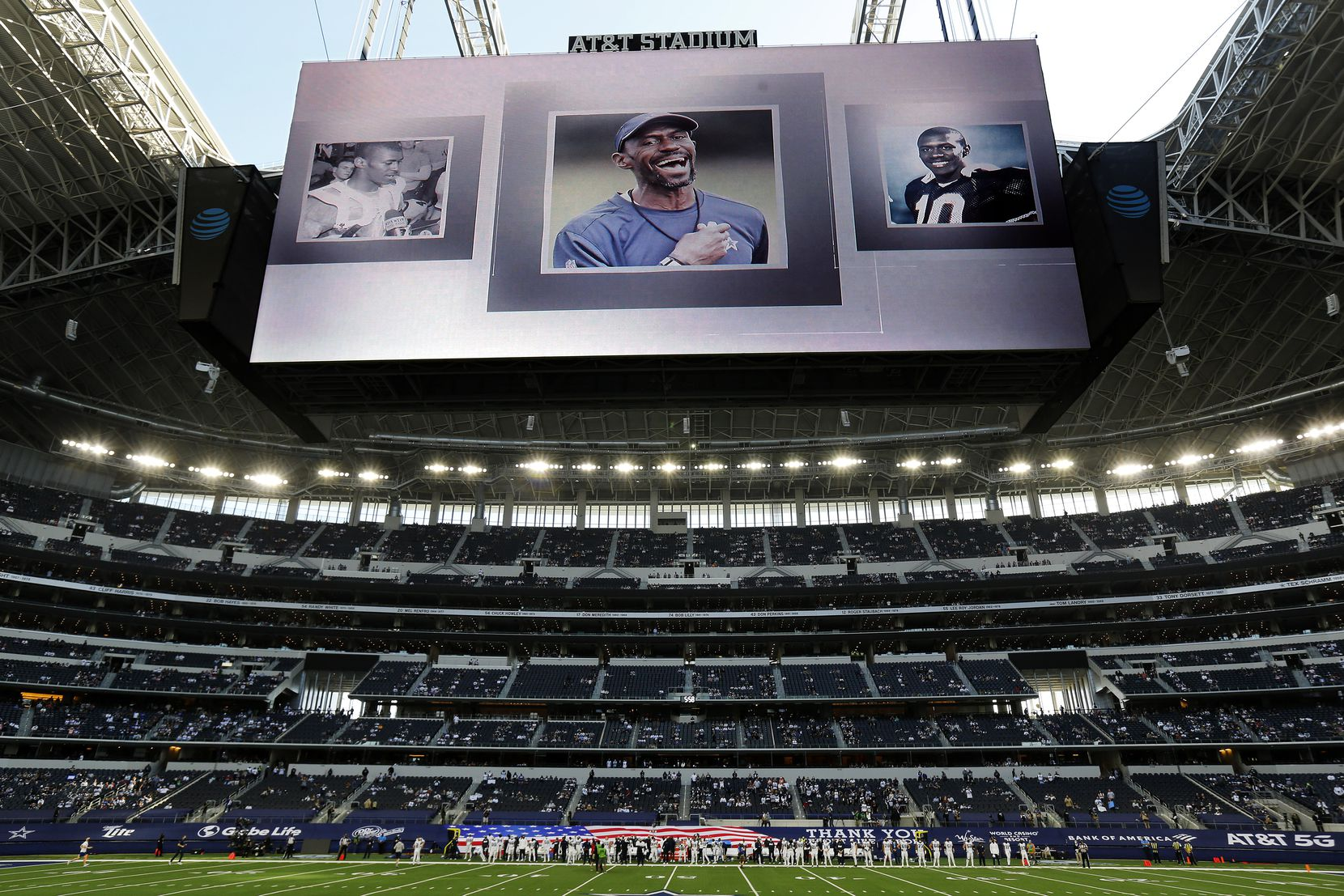 A moment of silence was held before the Washington Football Team game for Dallas Cowboys strength coach Markus Paul at AT&T Stadium in Arlington, Thursday, November 26, 2020. The Cowboys coach died suddenly this week.