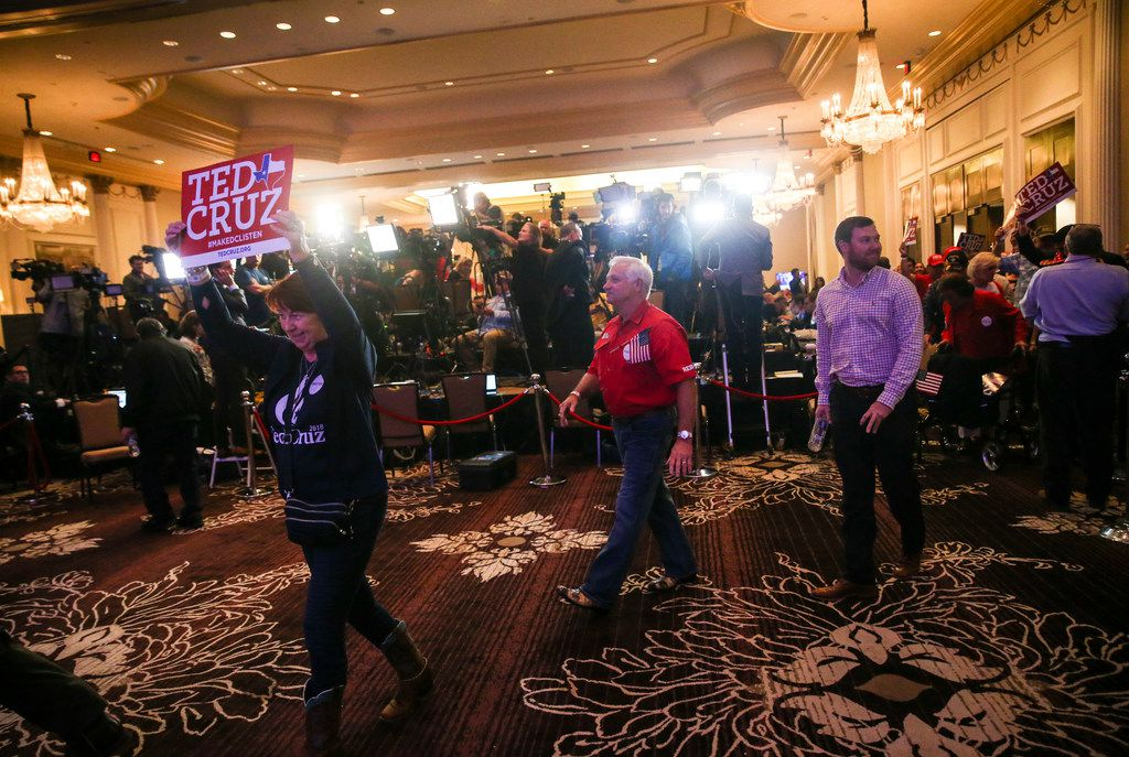 Cruz supporters enter as the doors open to an election night party for Sen. Ted Cruz, R-Texas, on Tuesday, Nov. 6, 2018, at Hilton Post Oak by the Galleria in Houston. (Ryan Michalesko/The Dallas Morning News)