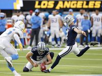 Dallas Cowboys place kicker Greg Zuerlein (2) kicks the winning field goal at the end of the game to defeat the Los Angeles Chargers, 20-17, at SoFi Stadium in Inglewood, California, Sunday, September 19, 2021.