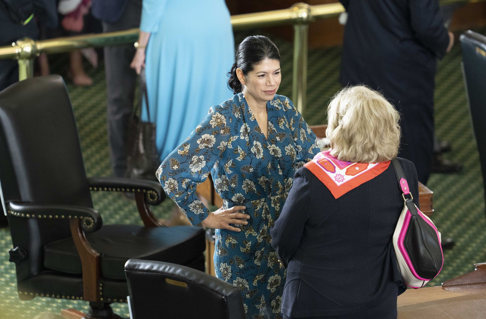 State Sen. Carol Alvarado, D-Houston, talked with retiring Sen. Jane Nelson (right), R-Flower Mound, during the opening of the special session on July 8, 2021. (Bob Daemmrich/CapitolPressPhoto)