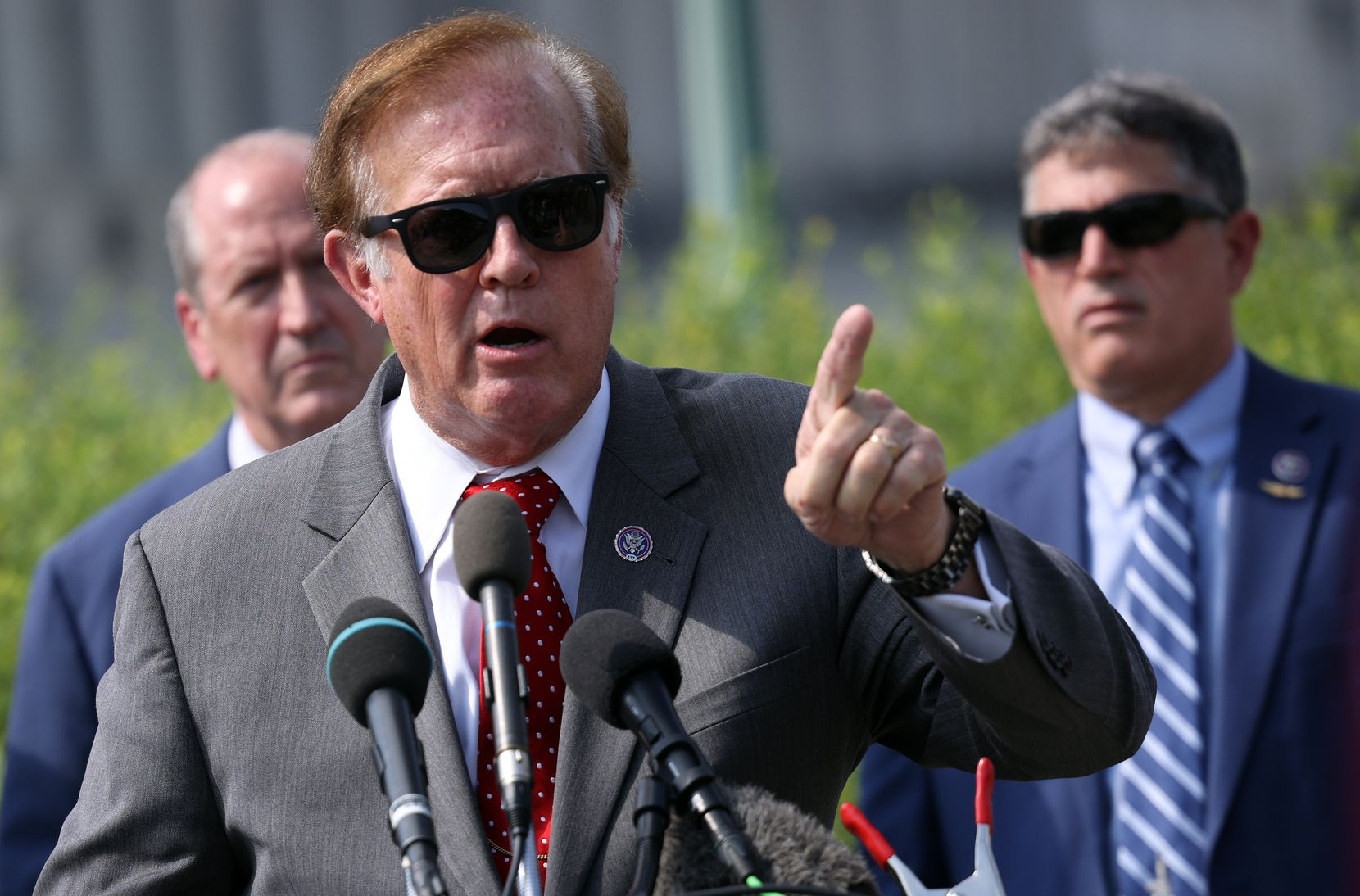 Rep. Randy Weber, R-Friendswood, speaks during a news conference on infrastructure with fellow members of the conservative House Freedom Caucus outside the Capitol on Aug. 23, 2021.