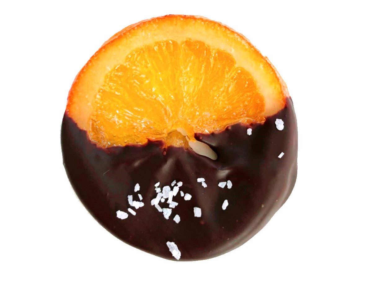 Candied Orange Slices dipped in chocolate from Wild Bakes and Cakes in Frisco