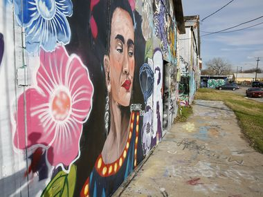 A mural of Frida Kahlo stands out at Dallas' unofficial graffiti park, the largest outdoor gallery in the city in the 600 block of Fabrication Street in West Dallas.