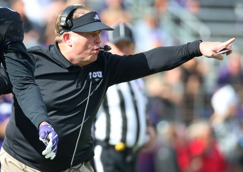 TCU head coach Gary Patterson is pictured on the sidelines during the Baylor University Bears vs. the TCU Horned Frogs NCAA college football game at Amon G. Carter Stadium in Fort Worth, Texas on Friday, November 24, 2017. (Louis DeLuca/The Dallas Morning News)