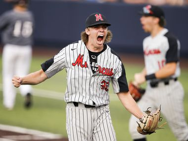 Flower Mound Marcus relief pitcher Micky Sheetz celebrates a 7-4 win over Plano in game two of best of three Class 5A Region I quarterfinal high school baseball game at Dallas Baptist University, Friday, May 21, 2021. Flower Mound swept Plano in 2 games in the best of three series.