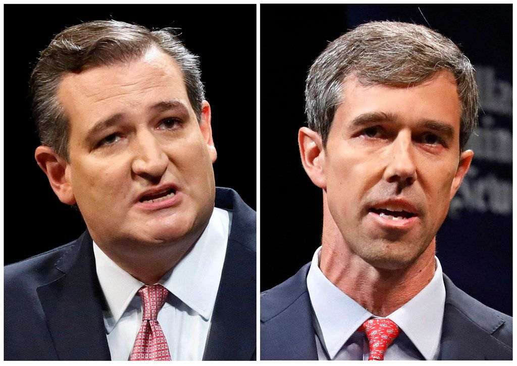 These Sept. 21, 2018, file photos show Republican U.S. Sen. Ted Cruz, left, and Democratic U.S. Rep. Beto O'Rourke, right, during their first Senate debate in Dallas. The anniversary of the deadliest church shooting in the nation's history _ when a gunman killed 25 people in a rural church near San Antonio _ is the day before the Texas Senate election between Republican incumbent Ted Cruz and rising Democratic star Beto O'Rourke. But you wouldn't know it spending time with either campaign. That massacre in Sutherland Springs, and another Texas mass shooting at Santa Fe High School near Houston about six months later, aren't the race's top issues.