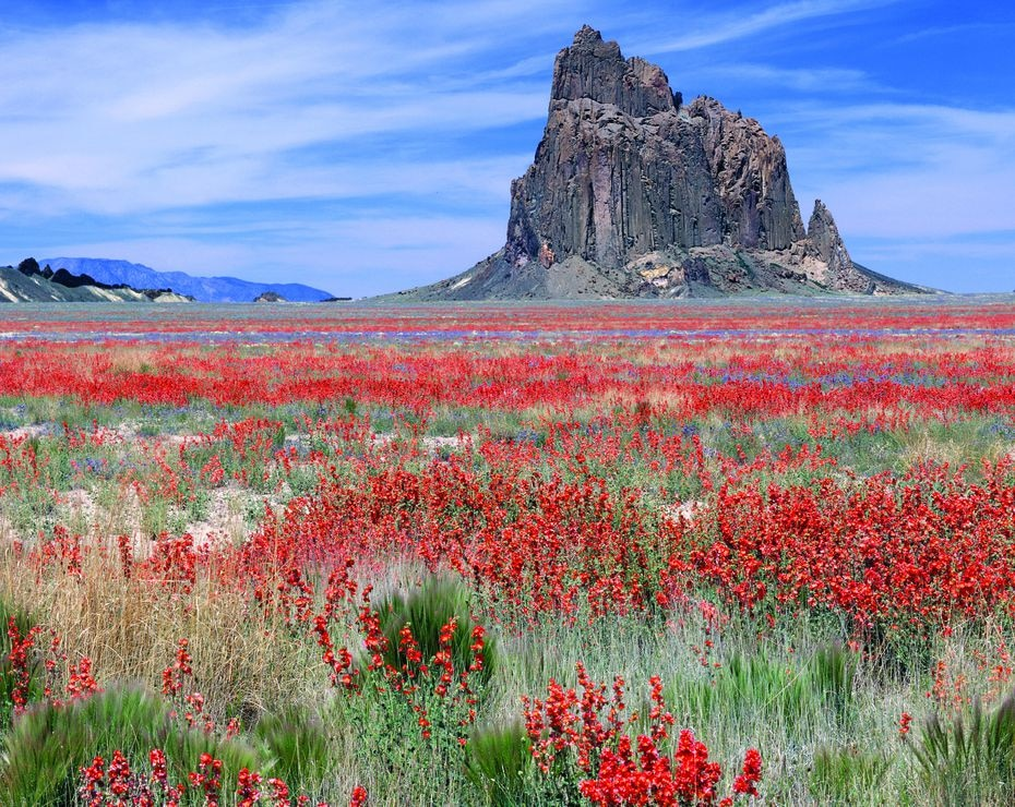 Shiprock, a sacred Navajo site located in northwest New Mexico, in the Four Corners region, near the town of the same name. Lilly took this photograph around 1995.