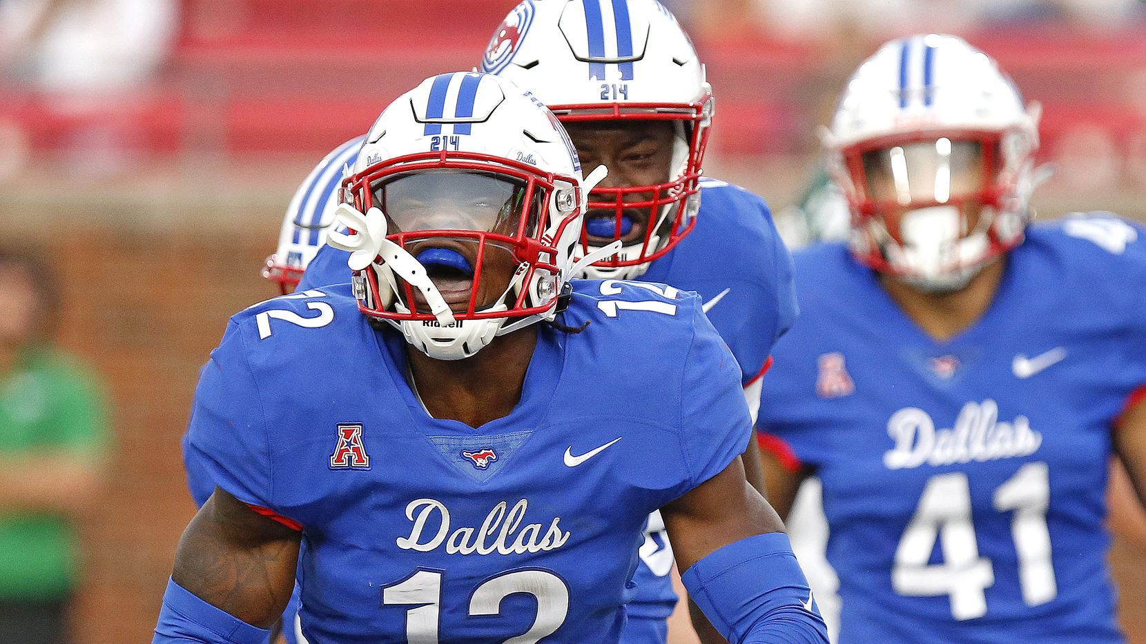 Southern Methodist Mustangs safety Isaiah Nwokobia (12) celebrates a turnover during the first half as SMU hosted UNT at Ford Stadium in Dallas on Saturday, September 11, 2021.