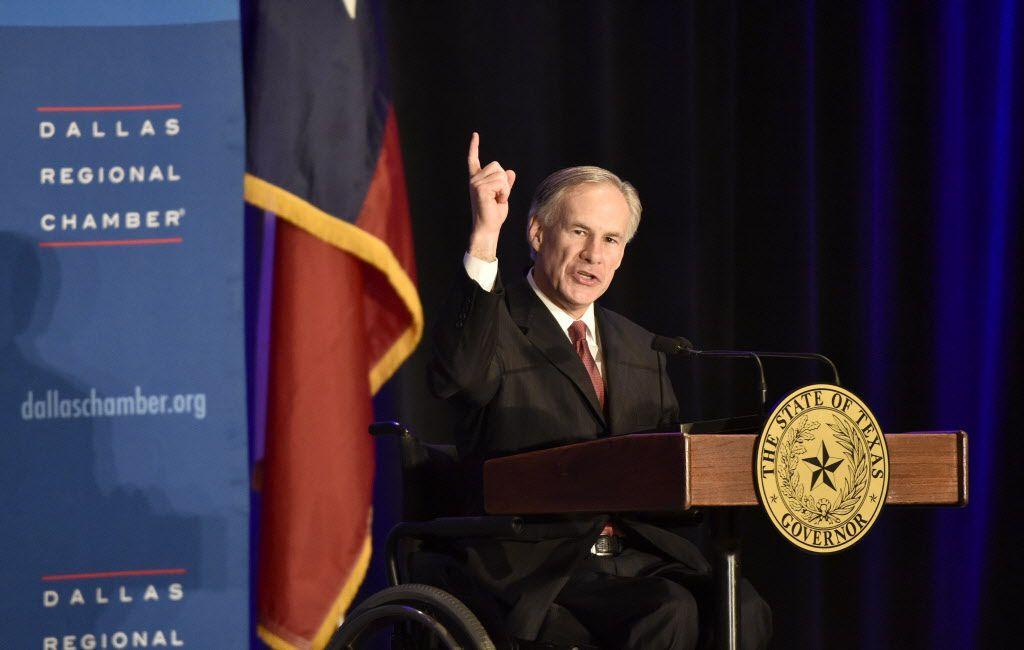 Texas Governor Greg Abbott speaks at the Dallas Regional Chamber at the Hyatt Regency Hotel.