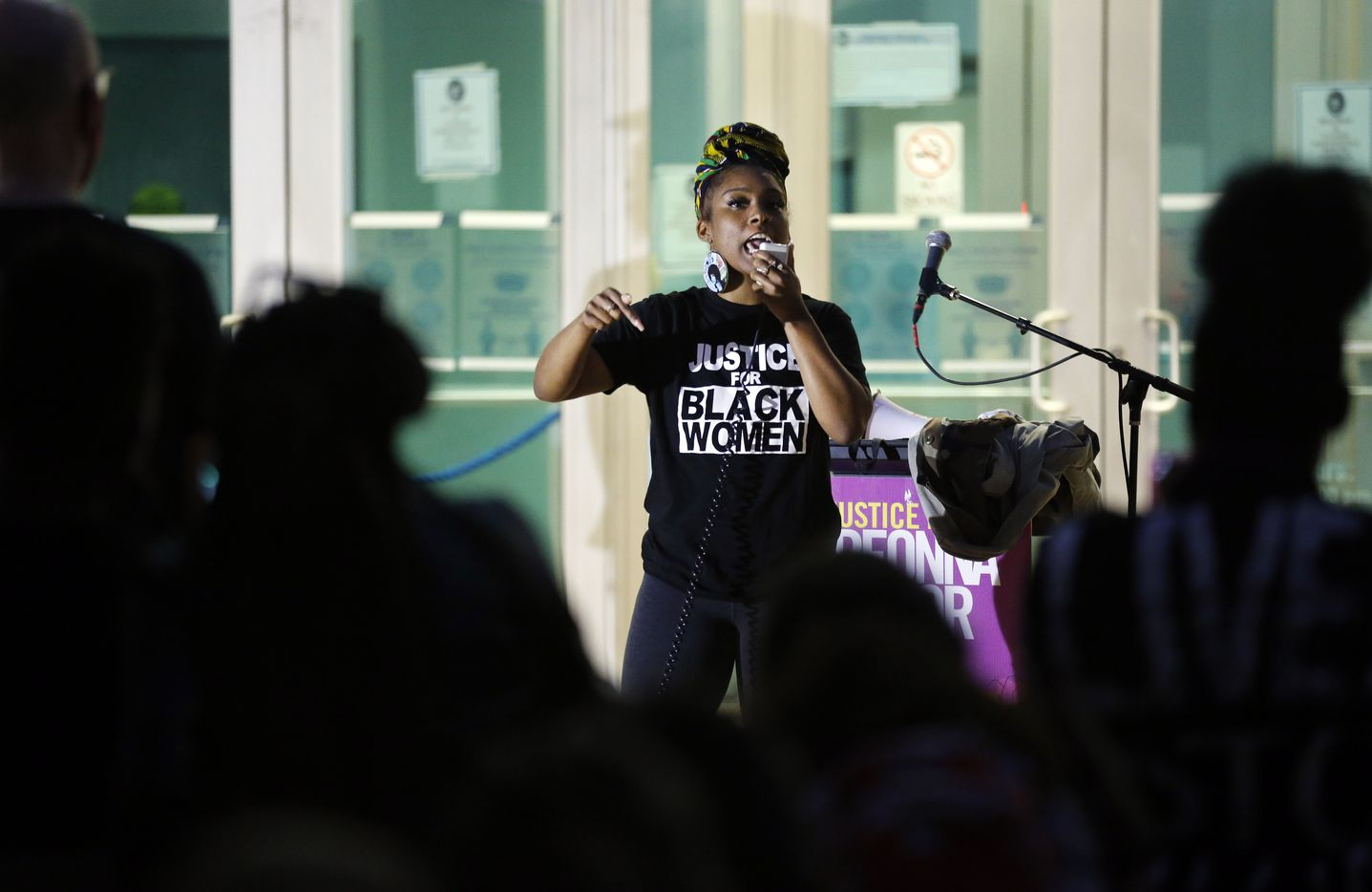 Lelani Russell delivers an emotional speech during a Next Generation Action Network protest outside of Dallas Police Headquarters in Dallas, Wednesday, September 23, 2020.  A Kentucky grand jury brought no charges against the Louisville police for the killing of Breonna Taylor during a drug raid gone wrong. (Tom Fox/The Dallas Morning News)