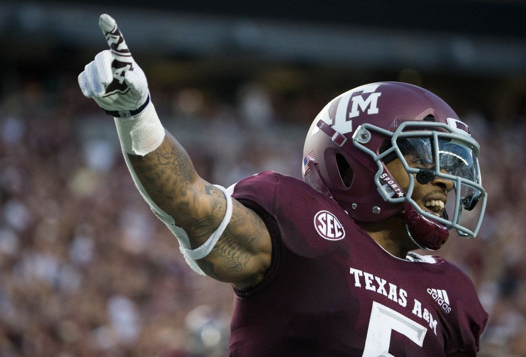 Texas A&M Aggies running back Trayveon Williams (5) celebrates a touchdown during a matchup between the Texas A&M Aggies and the Northwestern State Demons on Thursday, August 30, 2018 at Kyle Field in College Station, Texas.