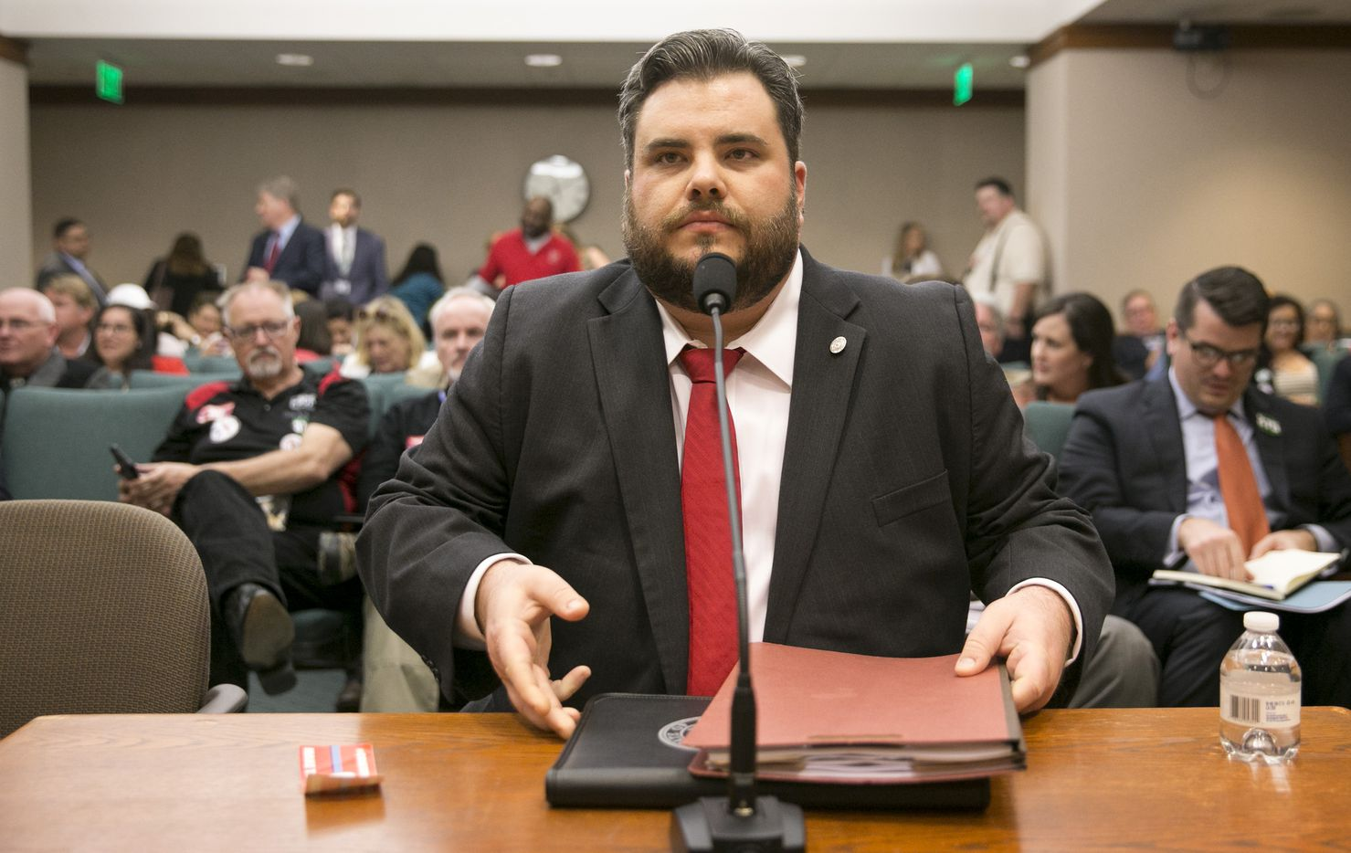 State Rep. Jonathan Stickland, R-Bedford, arrives at a Homeland Security & Public Safety Committee at the Capitol on Tuesday, March 28, 2017.