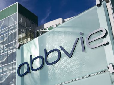 A sign outside of AbbVie's reseach center in Redwood City, Calif. The company is based in North Chicago, Ill., and has research facilities and manufacturing sites all over the world.