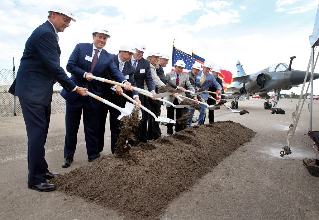 A Dassault Mirage F1 CT (right) was on display as Airborne Tactical Advantage Company (ATAC), part of Textron Airborne Solutions, broke ground on the Adversarial Center of Excellence at Alliance Airport in Fort Worth, Thursday, October 11, 2018. ATAC plans on purchasing more than 60 of the Dassault Aviation built air force planes that have actively flown since the early 1970's. (Tom Fox/The Dallas Morning News)