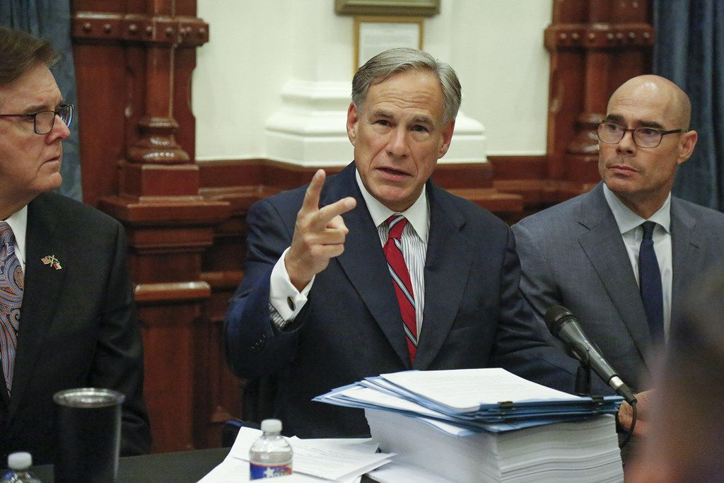 Gov. Greg Abbott kicks off the first roundtable discussion, held Aug. 29, 2019 at the Texas Capitol in Austin, on responding to the shooting in El Paso that left 22 dead. On Thursday, Sept. 12, Abbott issued a report containing gun safety recommendations and other potential policy responses.