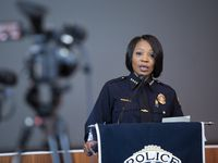 Chief of Police Reneé Hall speaks about last night's arrests at a Margaret Hunt Hill Bridge on Tuesday, June 2, 2020, at Jack Evans Police Headquarters in Dallas.
