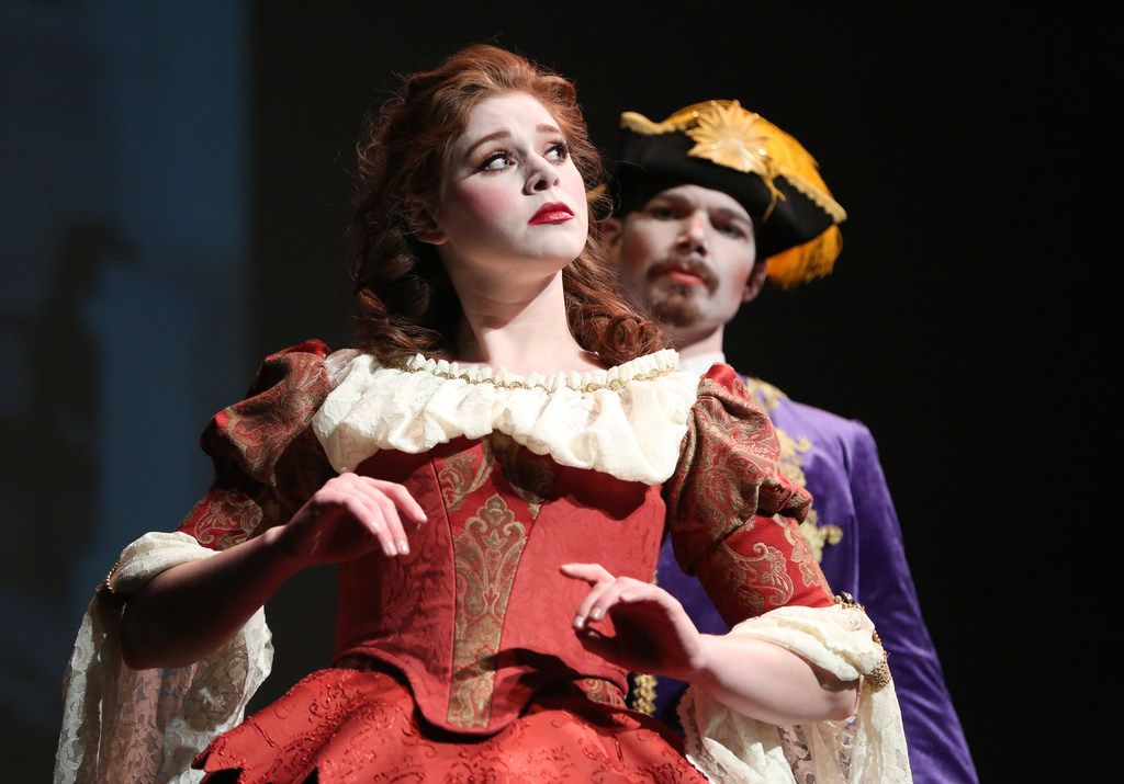 """Jocelyn Hansen as Deidamia and Joshua Hughes as Licomede perform during a rehearsal for the Orchestra of New Spain's opera """"Achilles in Skyros"""" at Moody Performance Hall on Wednesday, Feb. 7, 2018."""