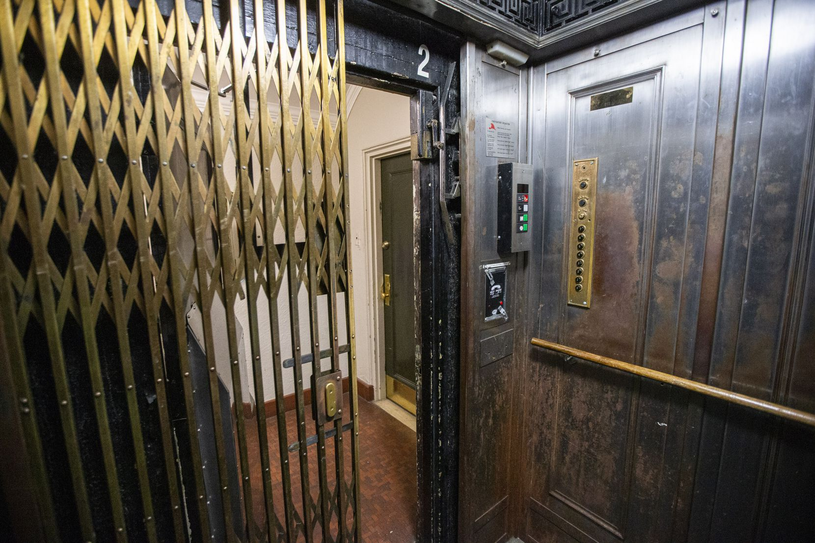 One of four elevators at the historic Maple Terrace Apartments, a 7-story building in Dallas that has had unending problems with elevators, first installed in 1936.