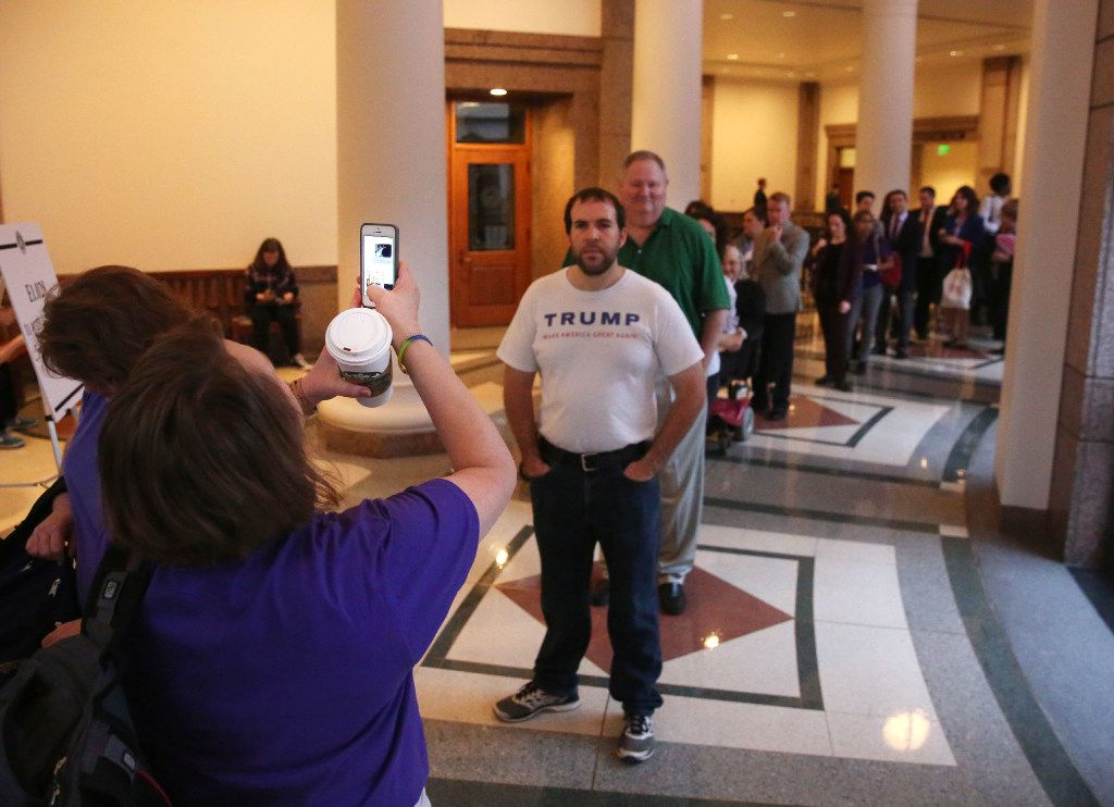 People wait in the sign up line to give a testimony as members of the Senate State Affairs Committee debate and hear public testimony of Senate Bill 6, the transgender bathroom bill, at the Texas State Capitol in Austin on Tuesday, March 7, 2017. The bill would bar transgender people from using the restrooms, locker and changing rooms that correspond to their gender identity in public schools and government buildings. (Rose Baca/The Dallas Morning News)
