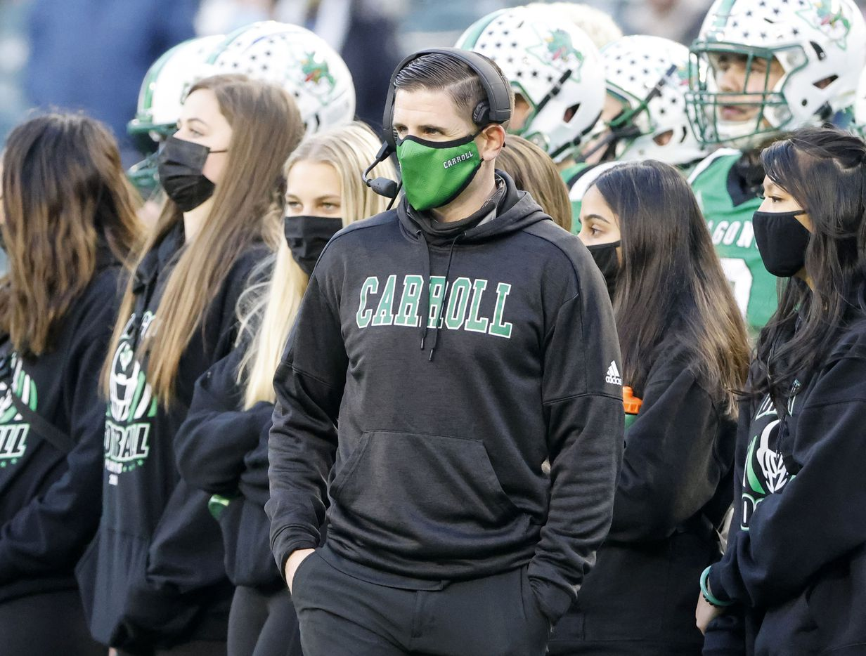 Southlake Carroll defensive coordinator Lee Munn acted as head coach during the Class 6A Division I state high school football semifinal against Duncanville, in Arlington, Texas on Jan. 9, 2020. Head coach Riley Dodge was out because of a positive Covid test during the week. (Michael Ainsworth)