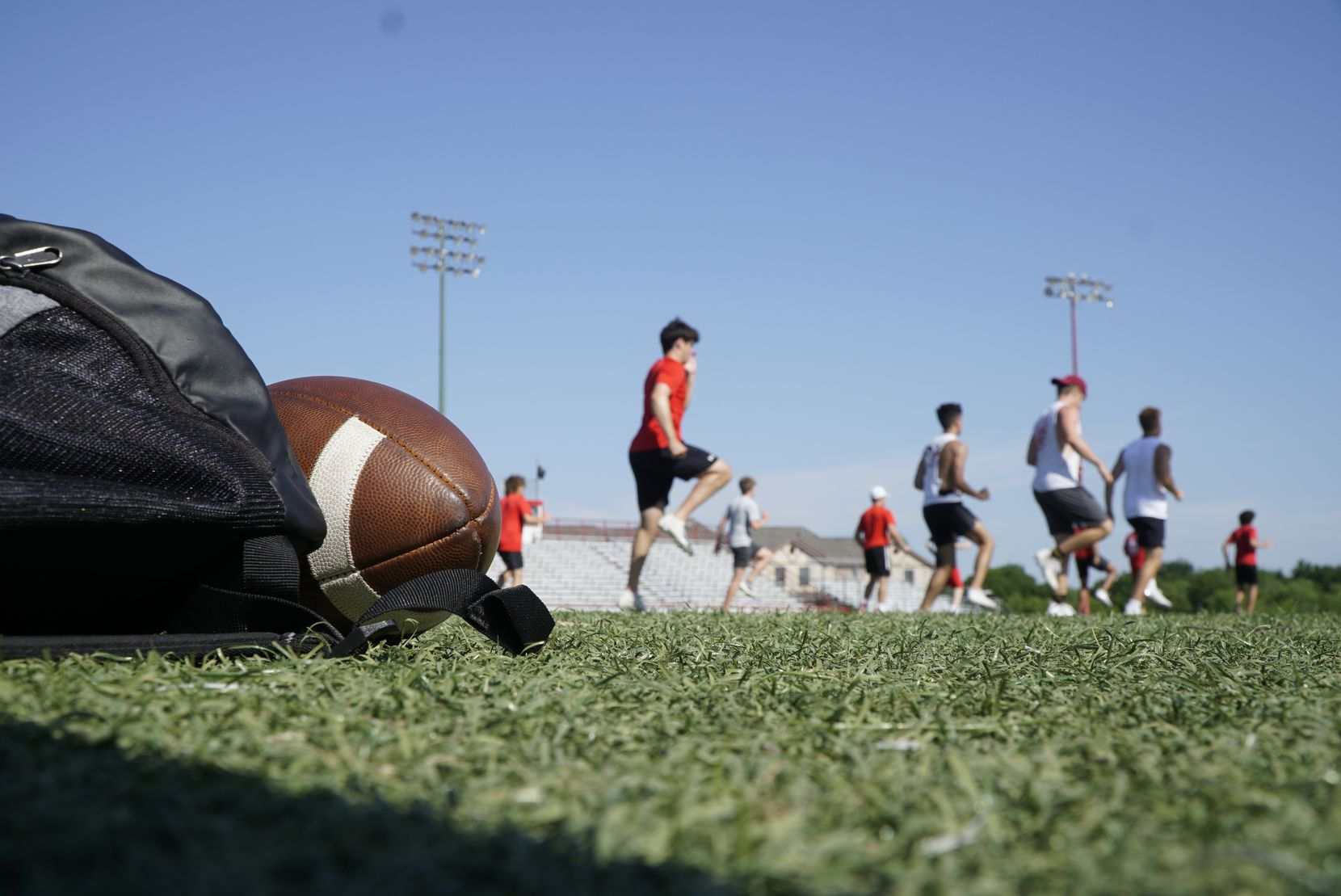Workouts started for athletes at Fort Worth Christian School in North Richland Hills, Texas on Thursday, June 4, 2020. The athletes participated in several drills on field as well as weight training.