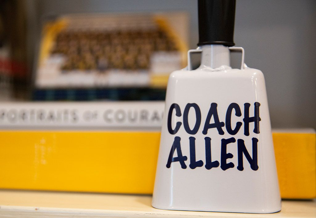 A cowbell in Highland Park football coach Randy Allen's Highland Park home on Nov. 9, 2019 in Dallas.  Highland Park beat Lancaster 42-35 in overtime on Nov. 1 for Allen's 400th career win.