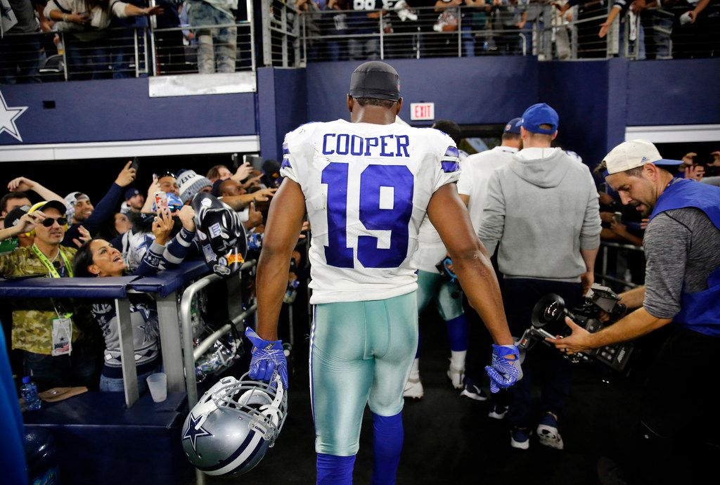 Dallas Cowboys wide receiver Amari Cooper (19) leaves the field after scoring the game-winning touchdown in the overtime against the Philadelphia Eagles at AT&T Stadium in Arlington, Texas, Sunday, December 9, 2018. The Cowboys won, 29-23. (Tom Fox/The Dallas Morning News)
