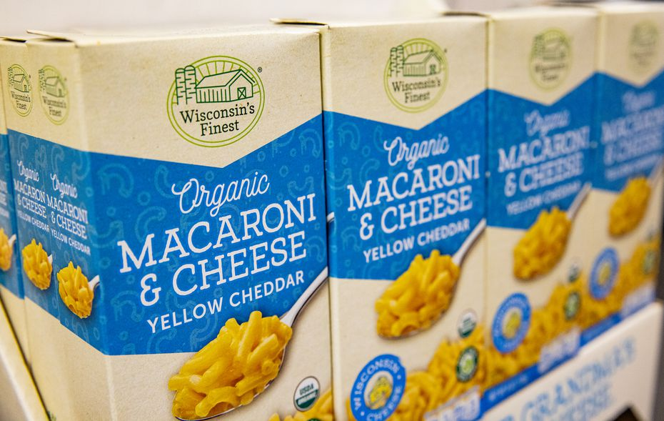 Packages of Wisconsin's Finest organic mac and cheese, which it started making a few months before the pandemic started.