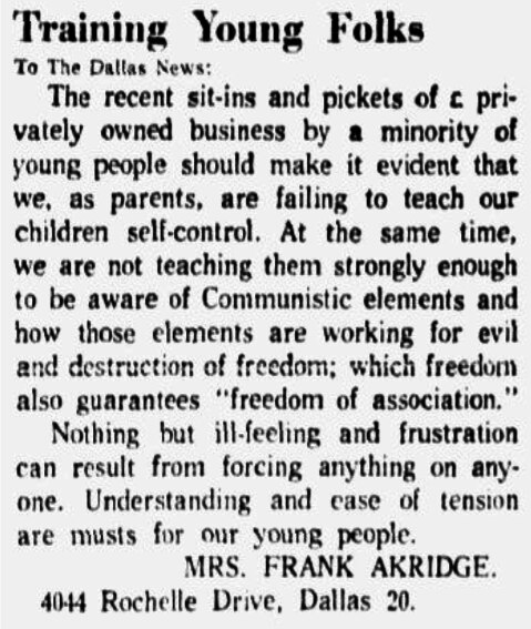Letter published in the Jan. 20, 1961 edition of The Dallas Morning News responding to the protests.