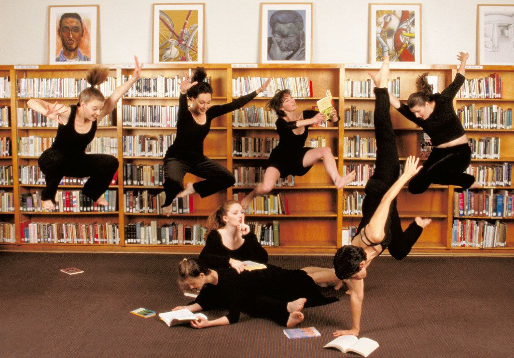 Elledanceworks reading and jumping during its fifth season in 2001-02.