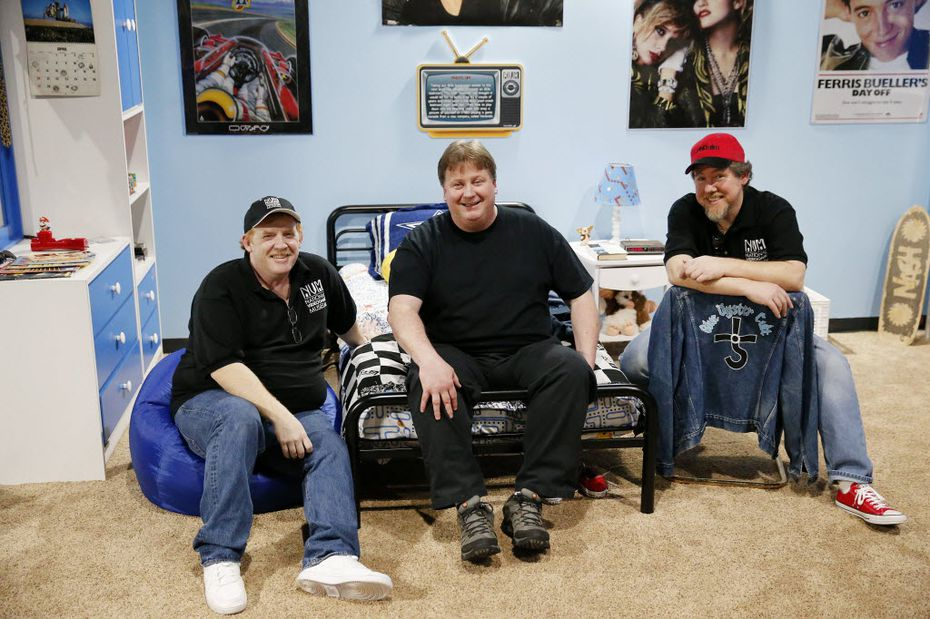Co-founders Sean Kelly (from left), John Hardie and Joe Santulli in the 1980s bedroom during the soft opening of the National Videogame Museum at the Frisco Discovery Center in Frisco on March 26, 2016. (Andy Jacobsohn/The Dallas Morning News