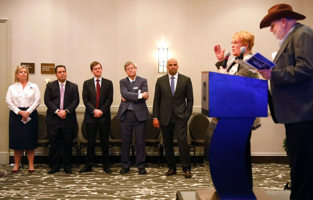 Bob Franklin and Lenna Webb (right) welcome Congressional District 32 candidates; (from left) Lillian Salerno, George Rodriguez, Ed Meier, Ron Marshall and Colin Allred; at the Democratic Primary Forum held at the Wyndham Dallas Suites - Park Central in Dallas, Sunday, January 28, 2018.